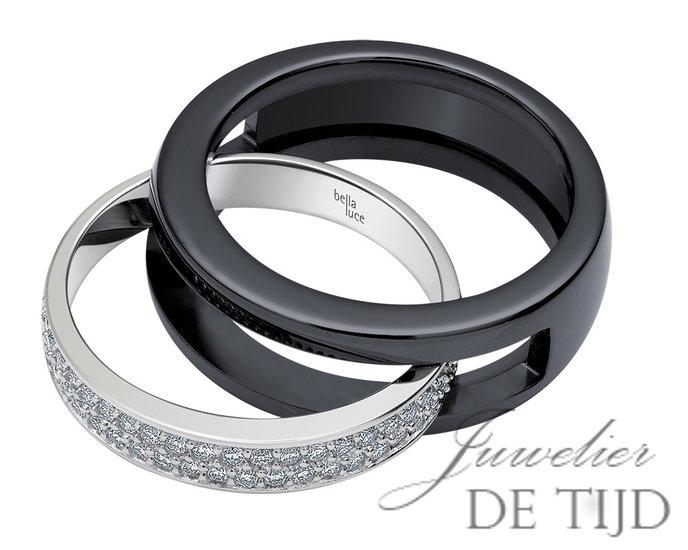 14 karaats wit gouden ring met keramiek buitenring