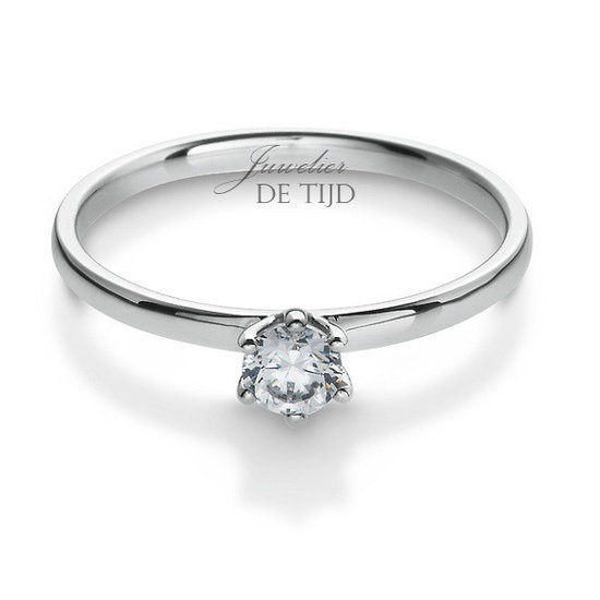 14 karaats wit gouden solitaire ring met briljant geslepen diamant