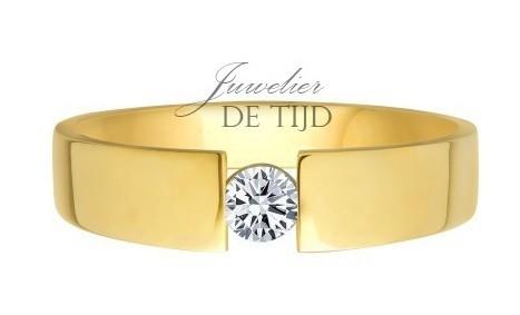 14 karaats gouden solitaire spanring met brug met 0,10crt briljant geslepen diamant