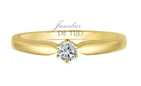 14 karaats geel gouden solitaire ring met 0,15crt briljant geslepen diamant