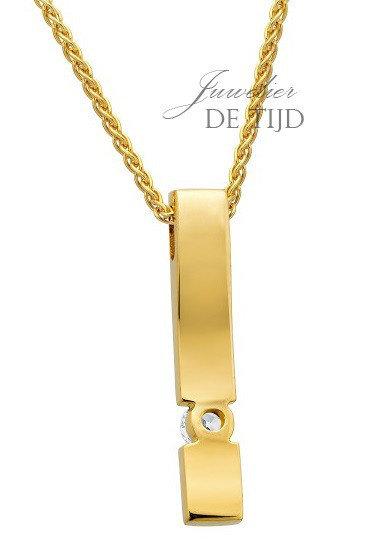 14 karaats geel gouden hanger met 0,10crt briljant geslepen diamant