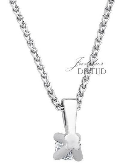 14 karaats wit gouden hanger met 0,25crt briljant geslepen diamant