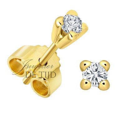14 karaats geel gouden oorstekers met 0,15crt briljant geslepen diamant
