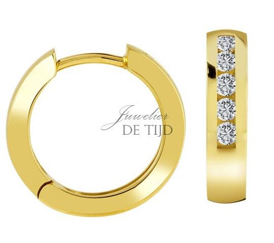 14 karaats geel gouden creolen met 0,30crt briljant geslepen diamant