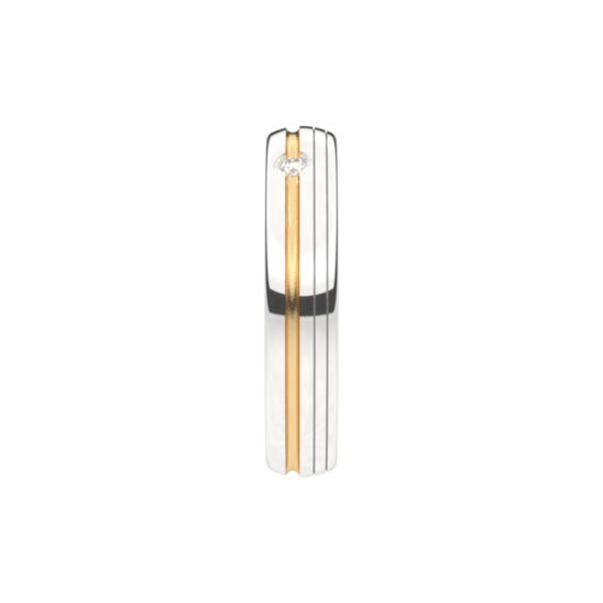 Wit met geel gouden Bi-color Trouwringen 4,0mm breed met 1 briljant geslepen diamant