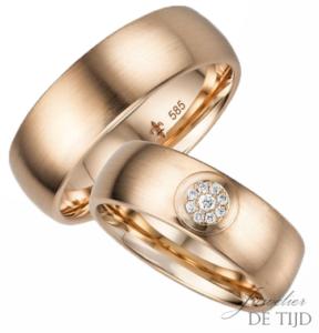 14 karaats rosé gouden trouwringen Mila