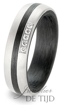 Palladium met carbon trouwringen 5,5mm breed