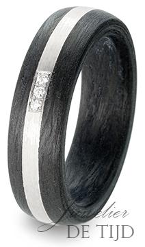 Palladium met carbon trouwringen en 3 briljant geslepen diamanten 6mm breed