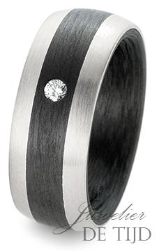 Palladium met carbon trouwringen en 1 briljant geslepen diamant