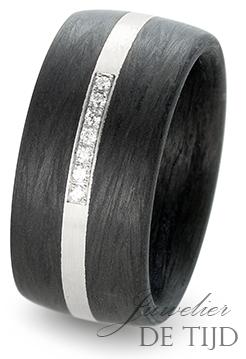 Palladium met carbon trouwringen en 7 briljant geslepen diamanten 10mm breed