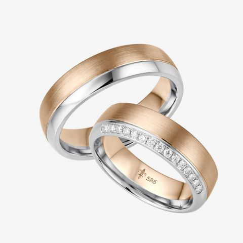14 karaats Bi-color rosé/wit gouden trouwringen Claire