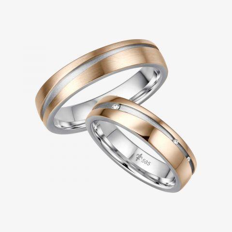 14 karaats Bi-color rosé/wit gouden trouwringen Antonia
