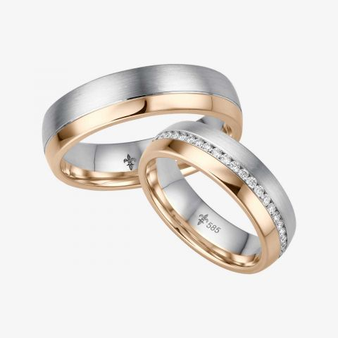 14 karaats Bi-color rosé/wit gouden trouwringen Léonie