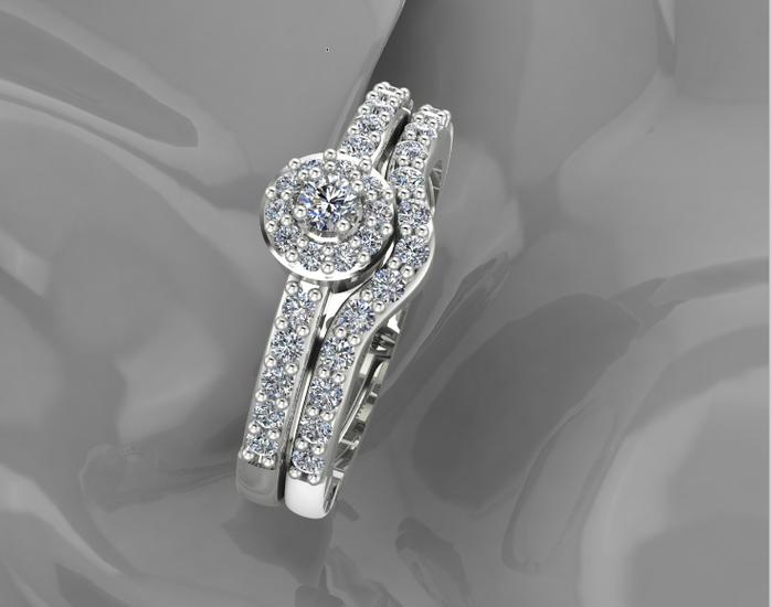 14 karaats wit gouden entouragering met briljant geslepen diamant
