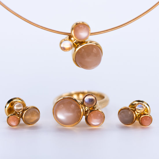 Platina design ring Tremolo met maansteen en diamant