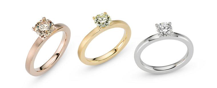 Amatis verlovingsring platina met één briljant geslepen diamant