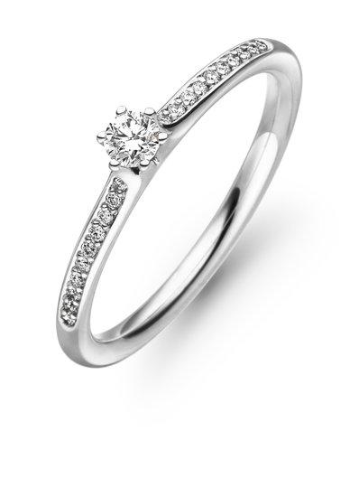 Design ring Diva met centraal één 0,11ct en daaromheen pavé gezet