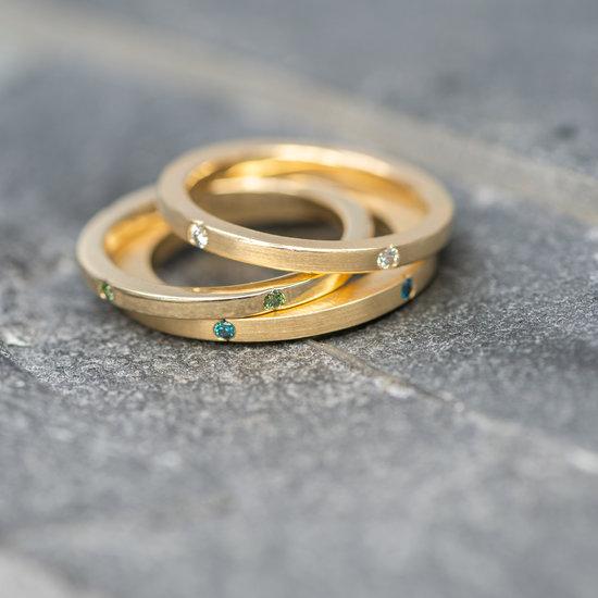 Fairmined Fairtrade 14 karaats geel gouden aanschuifring Forrest & Ocean
