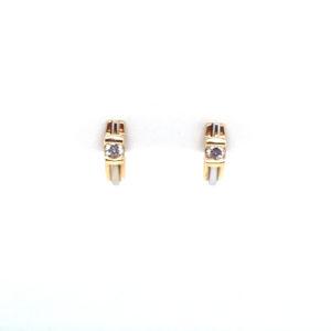 14 karaats bicolor gouden oorstekers