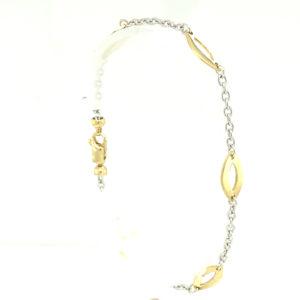 14 karaats bicolor wit- met geelgouden armband