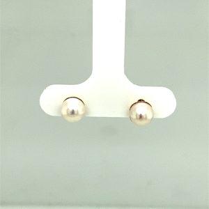 Set 14 karaats geelgouden parel oorstekers