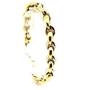 Bicolor 14 karaats geel met witgouden fantastie armband