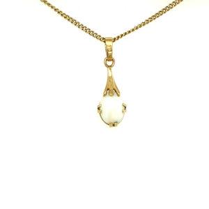 14 karaats geelgouden opaal hanger