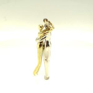 Bicolor wit- met geelgouden hanger 'Voor altijd samen'