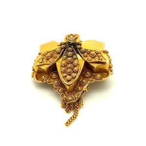 Antiek 14 karaats geelgouden broche