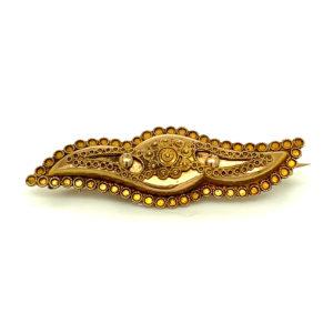 Antieke 14 karaats gouden broche