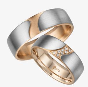 14 karaats witgouden/roségouden trouwringen Eve