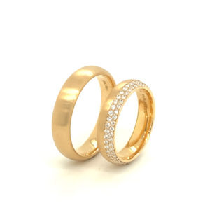 Lichtrosé gouden trouwringen Brillante met 90 briljanten
