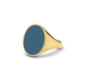 14 karaats geelgoud met blauwlagen steen