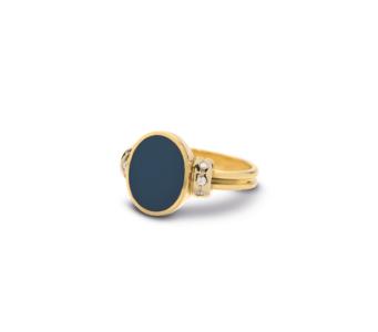 14 karaats geelgoud met blauwlagen steen met diamanten