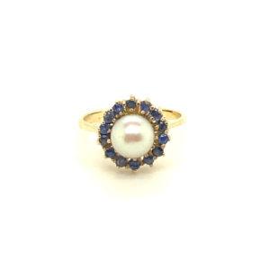 18 karaats geelgouden ring met parel