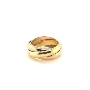 18 karaats tricolor trois anneaux ring