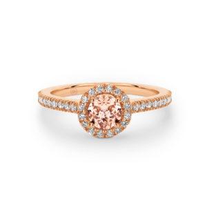18 karaats roségouden verlovingsring Halo Diamond