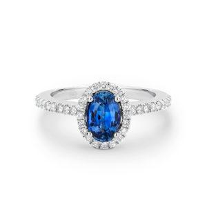 18 karaats witgouden verlovingsring met blauwe saffier