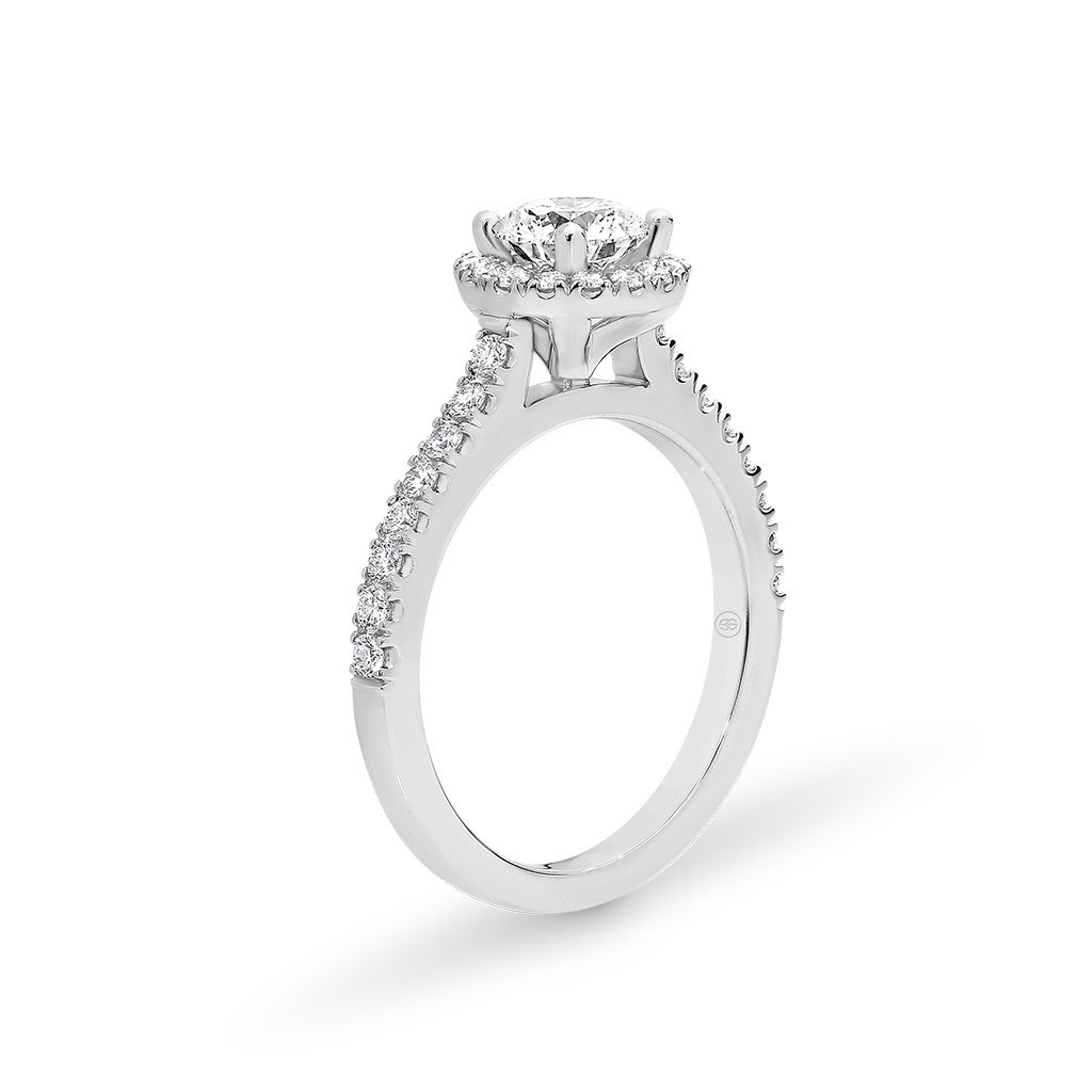 Witgouden Halo Diamond Round verlovingsring