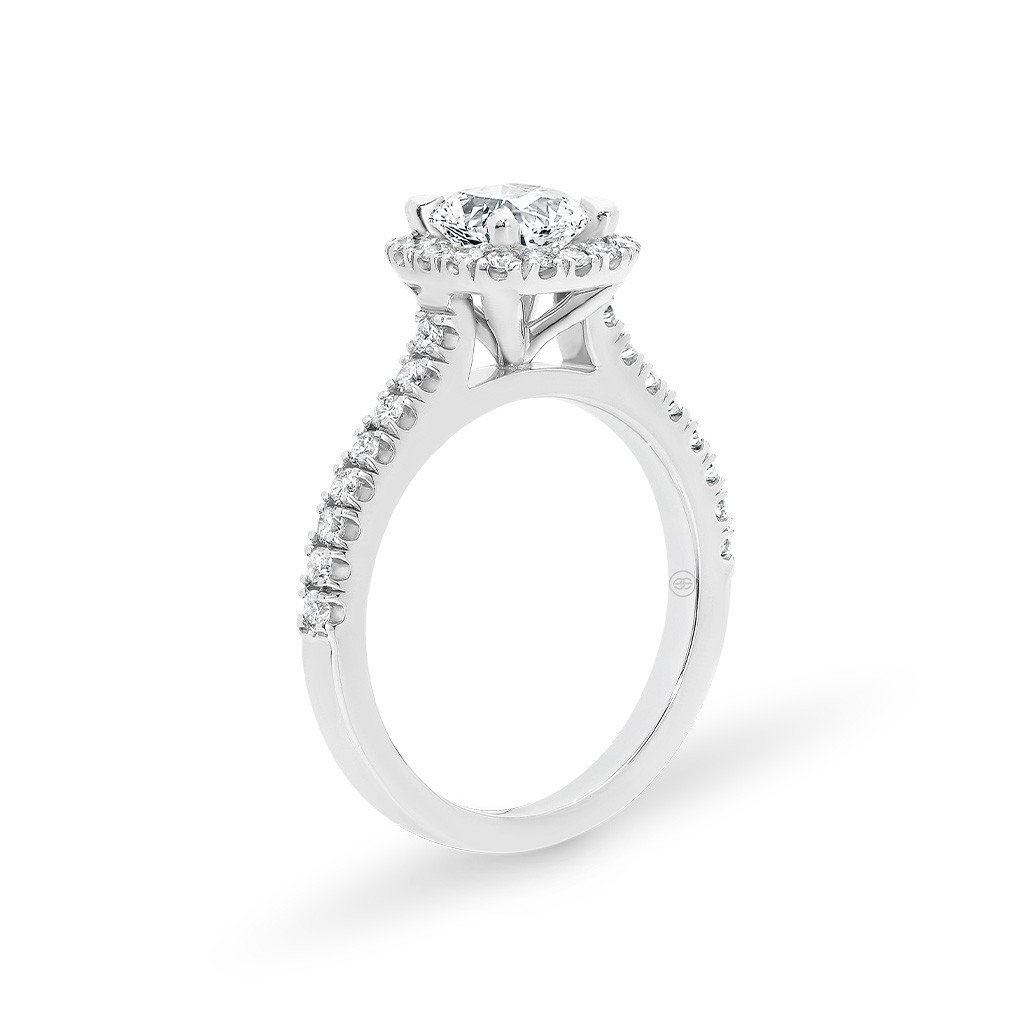 Witgouden Halo Diamond verlovingsring