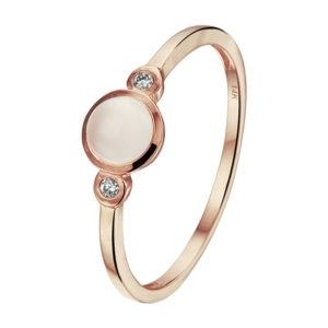 14 karaats roségouden ring met roze kwarts